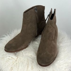 SAM EDELMAN PEGGY DARK TAUPE SUEDE ANKLE BOOTIES